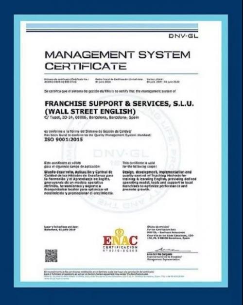 华尔街英语成功获得ISO 9001的重新认证,持续改进教学质量